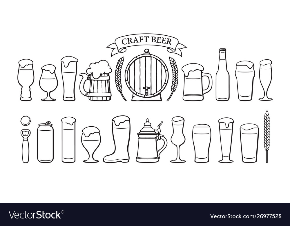 Beer objects set beer glasses different shape