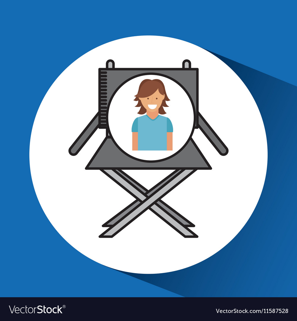 Cheerful girl cinema chair megaphone icon design vector image