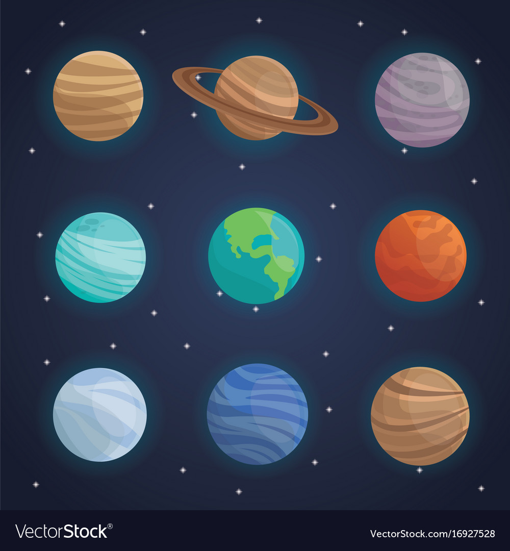 Color space landscape background with planets of Vector Image