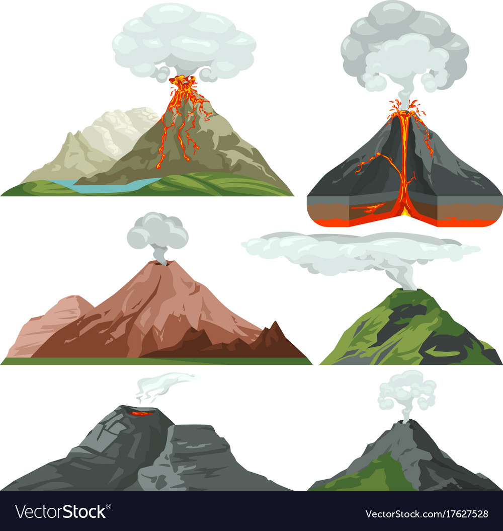 Fired up volcano mountains with magma and hot lava