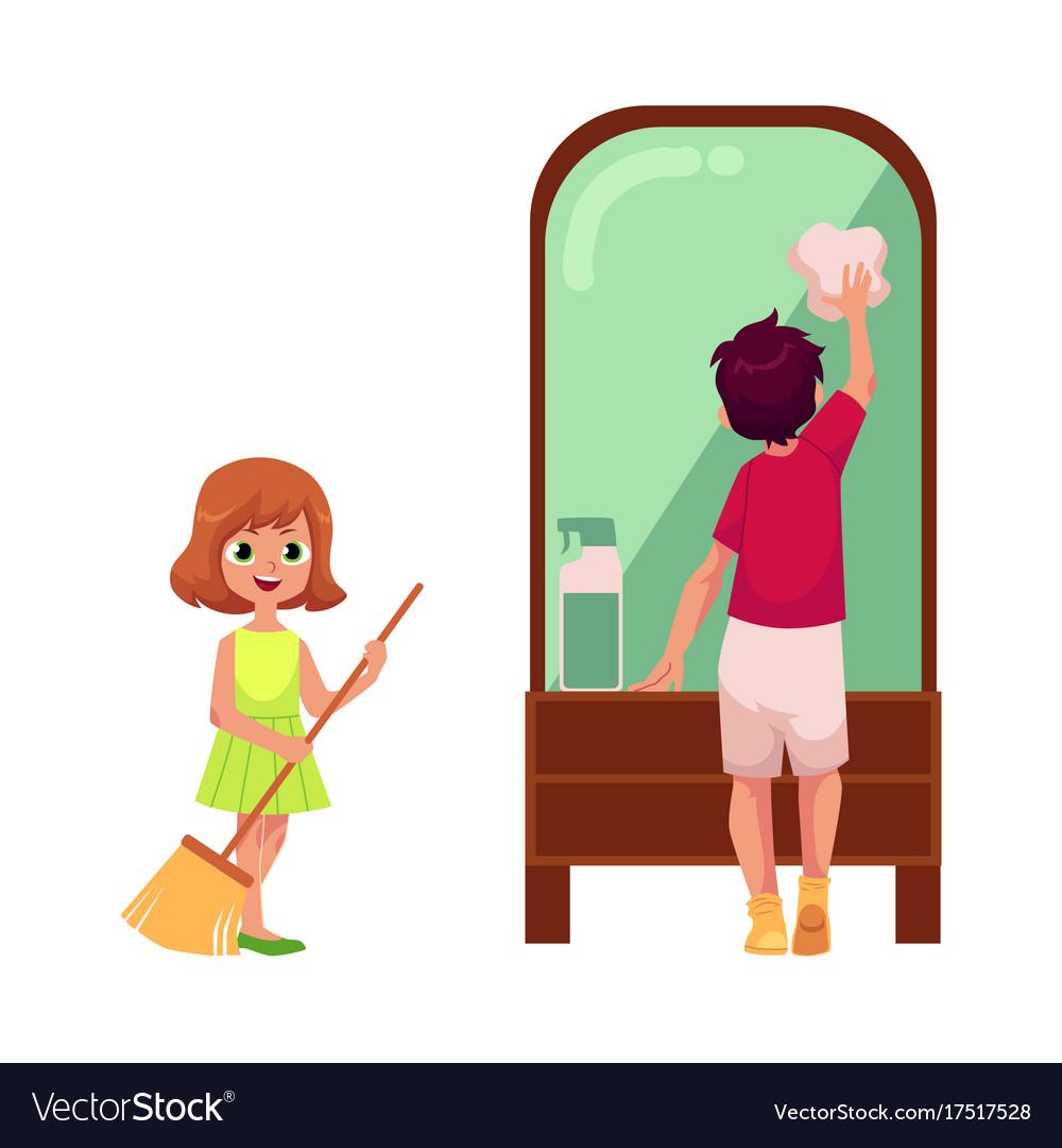 Flat cartoon children cleaning set