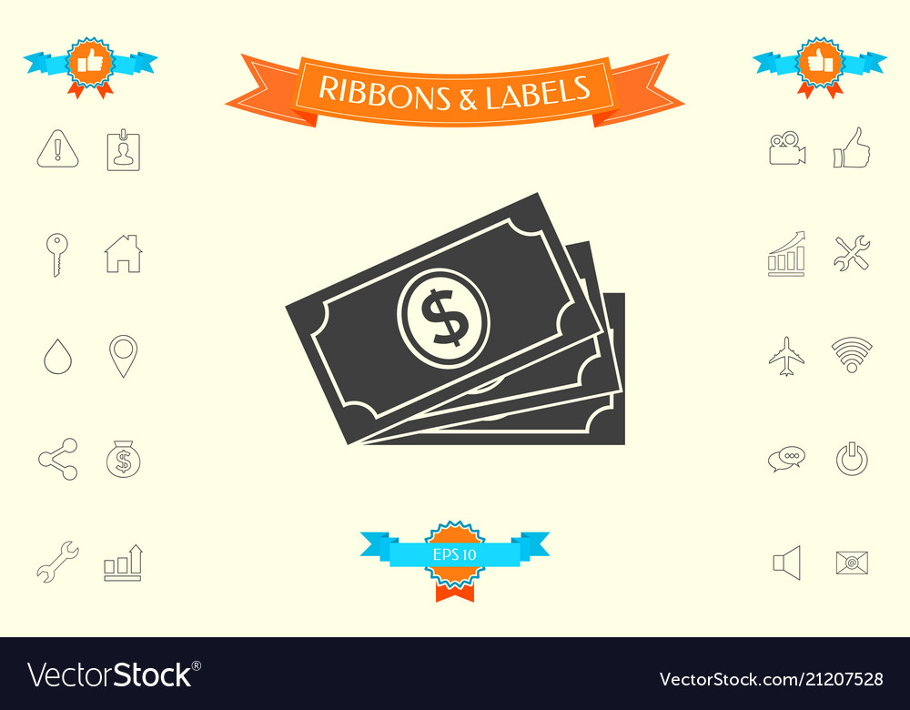 Money Banknotes Stack With Dollar Symbol Icon Vector Image