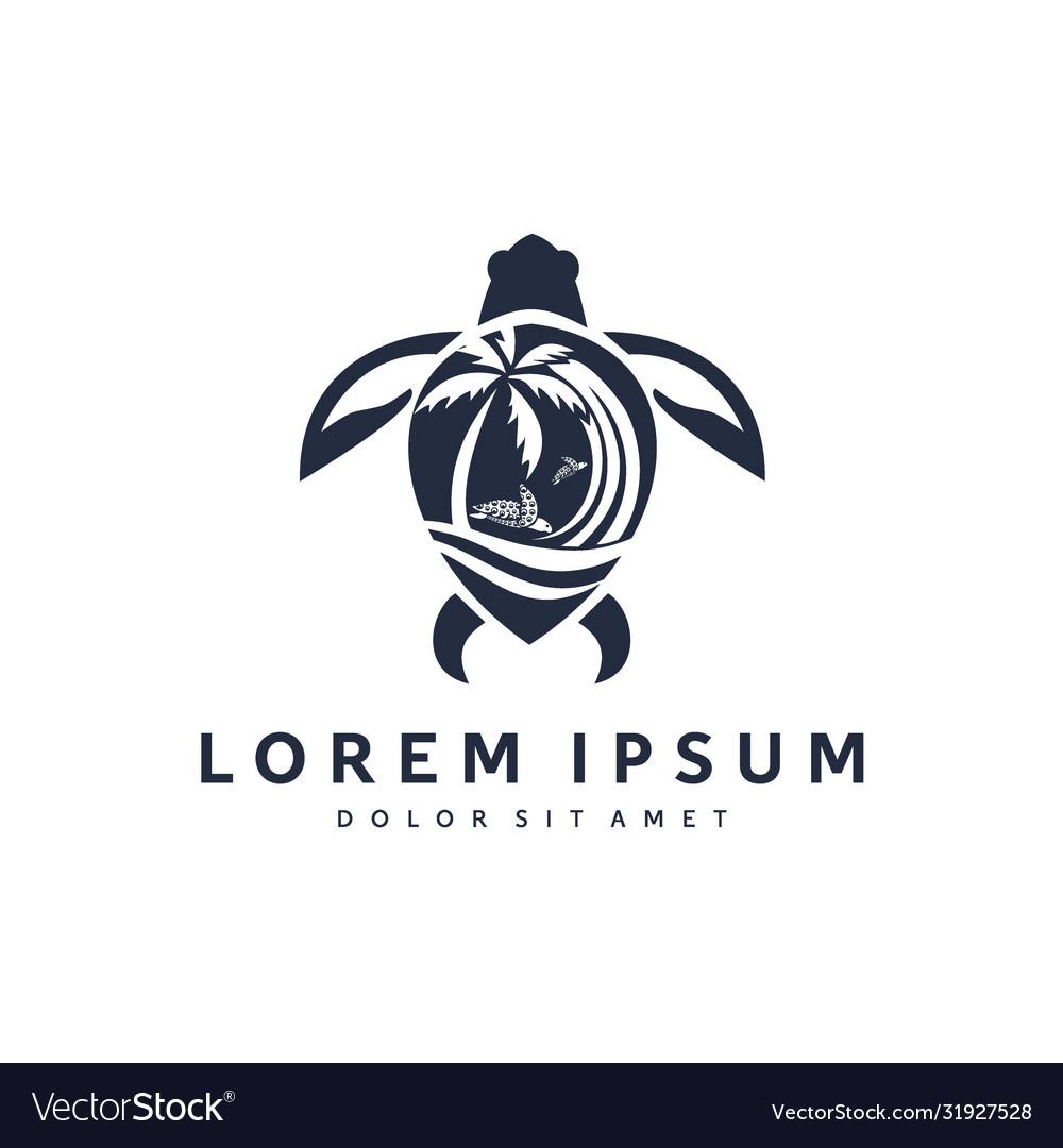 Sea and turtle logo design modern templates