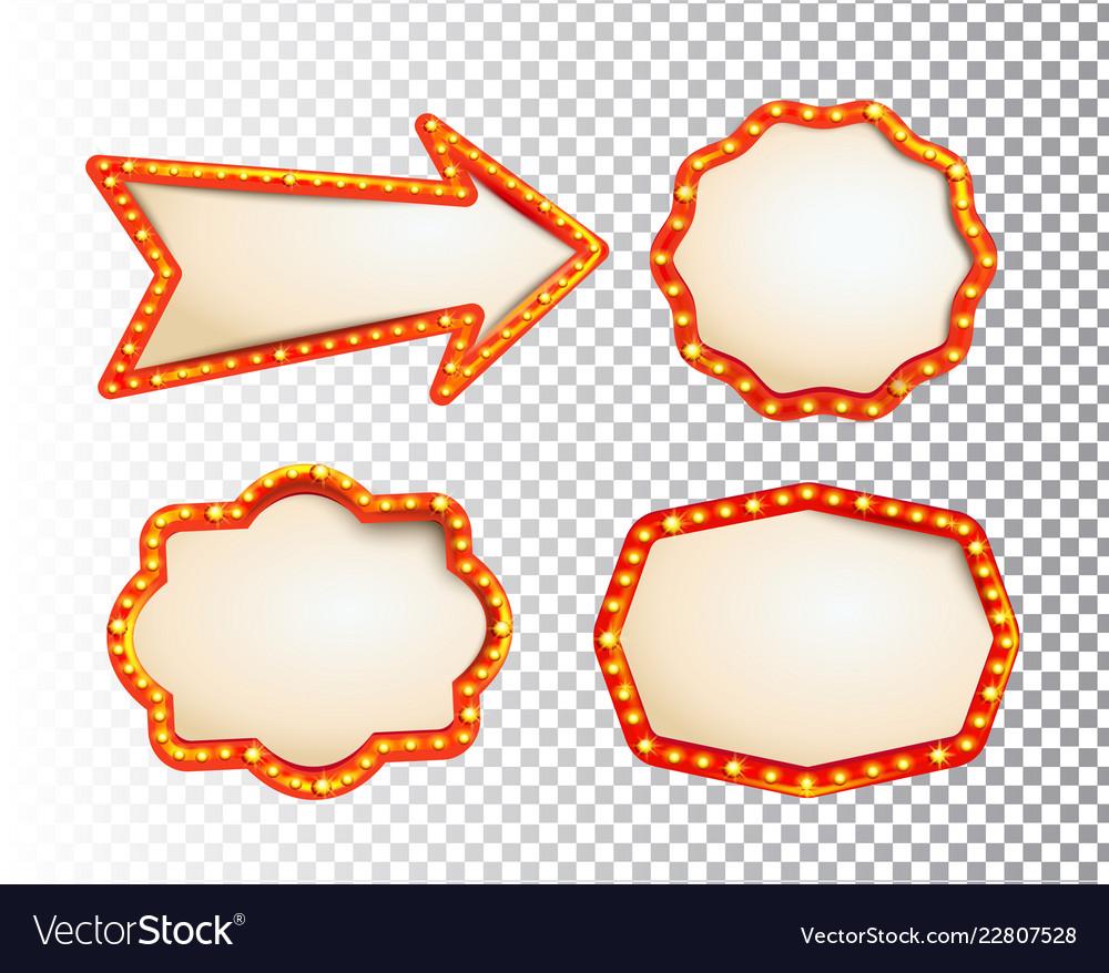 Shining isolated retroset bulb light frames arrow