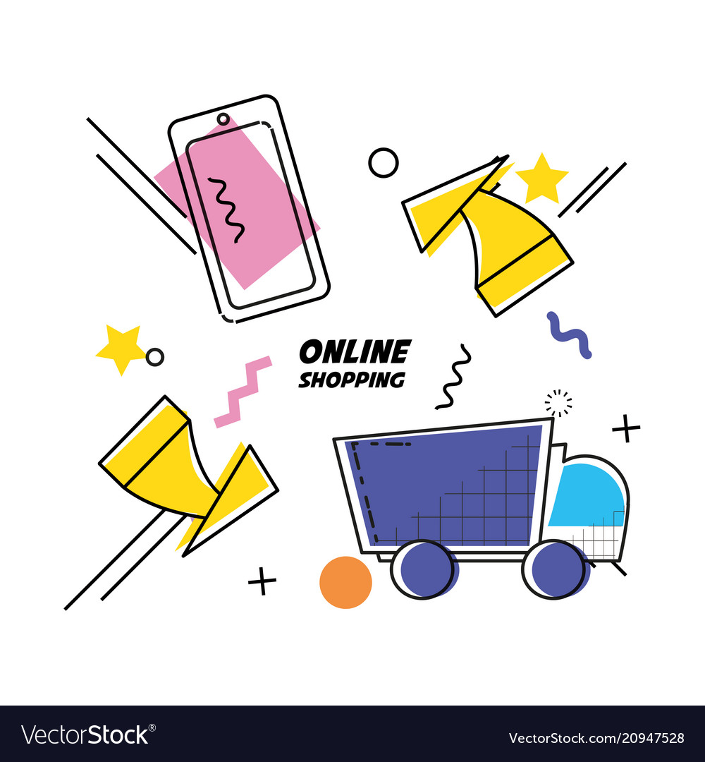 Shopping online pop art set icons