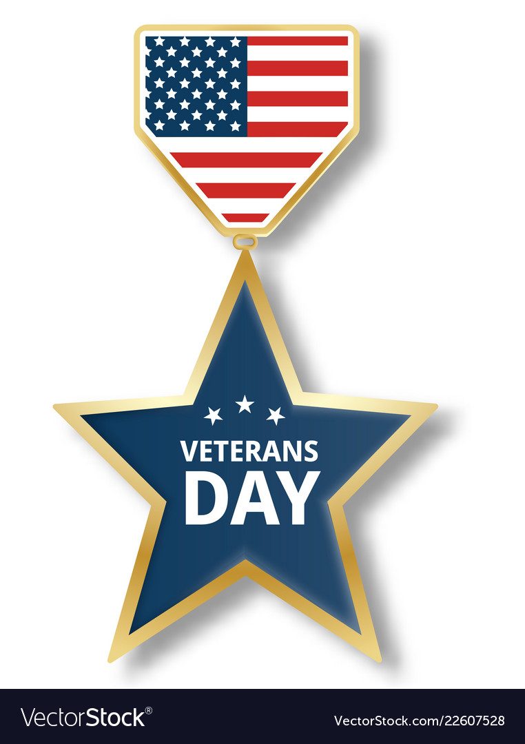 Veterans day star icon logo realistic style