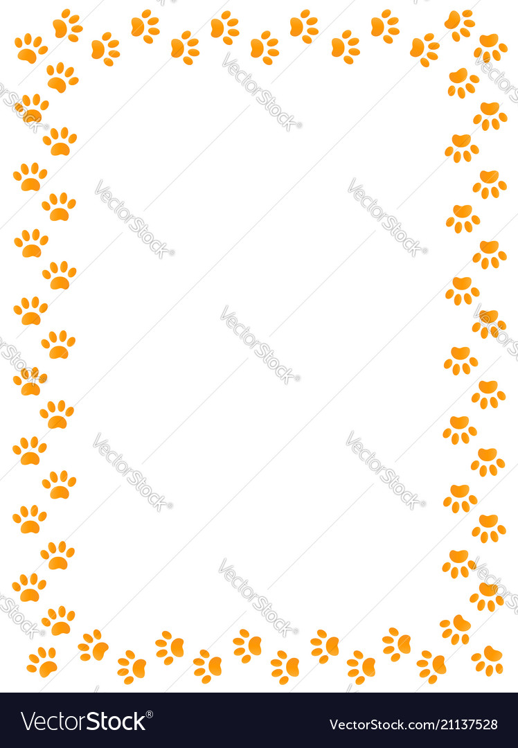 Yellow animal paw prints border frame