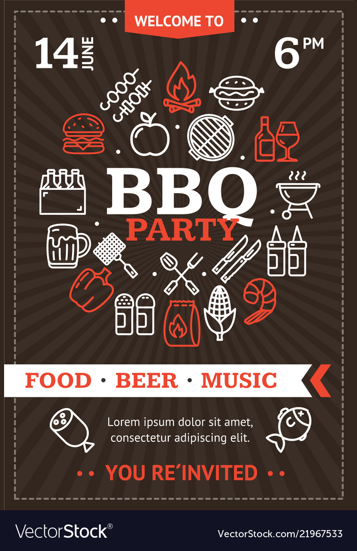 bbq party invitation or brochure with thin line vector image