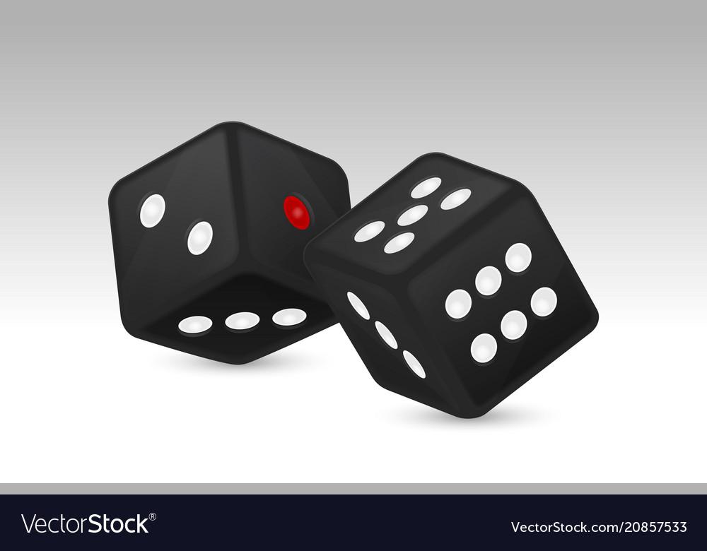 Black realistic game dice