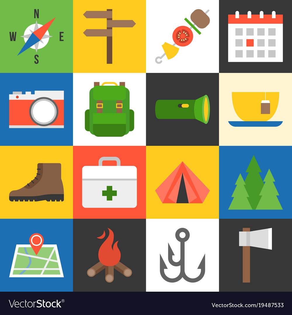 Camping icons flat design