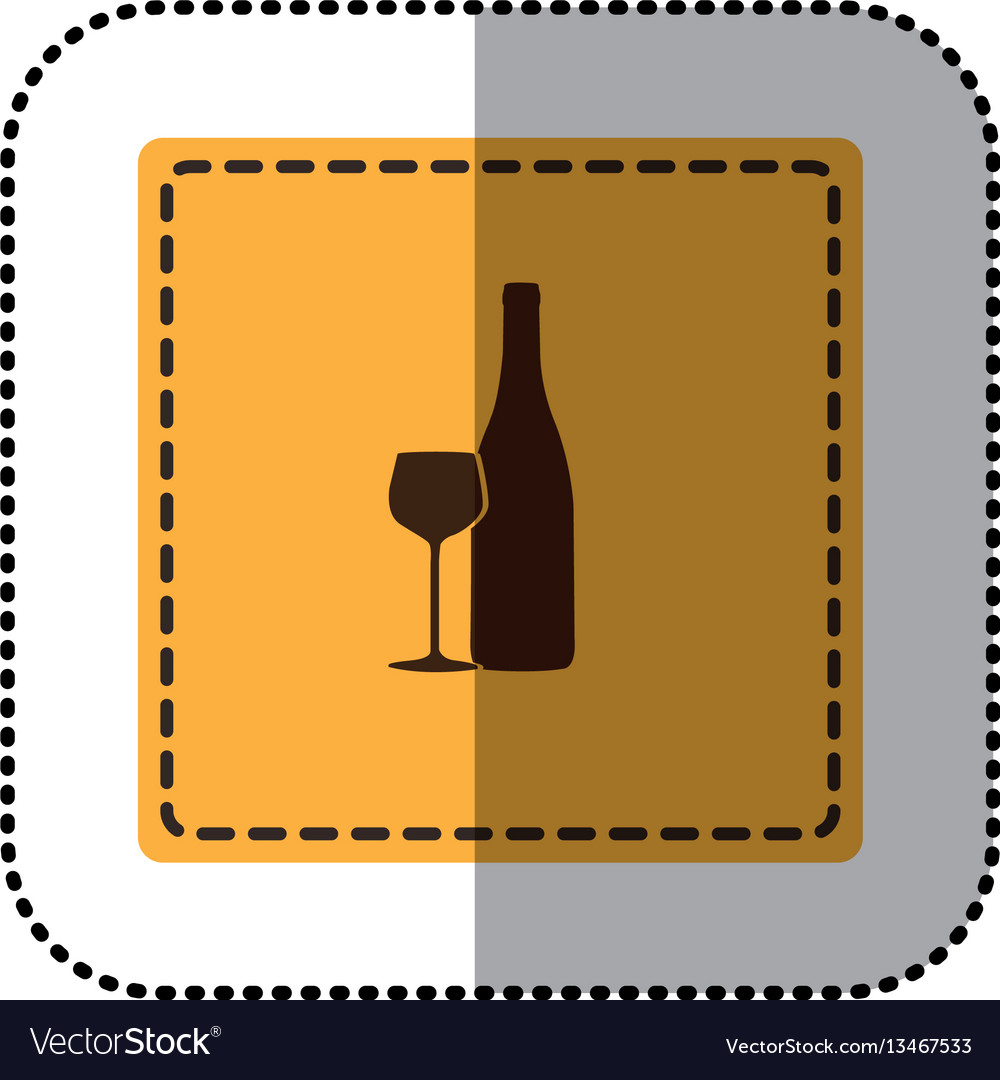 Color emblem wine bottle with glass icon