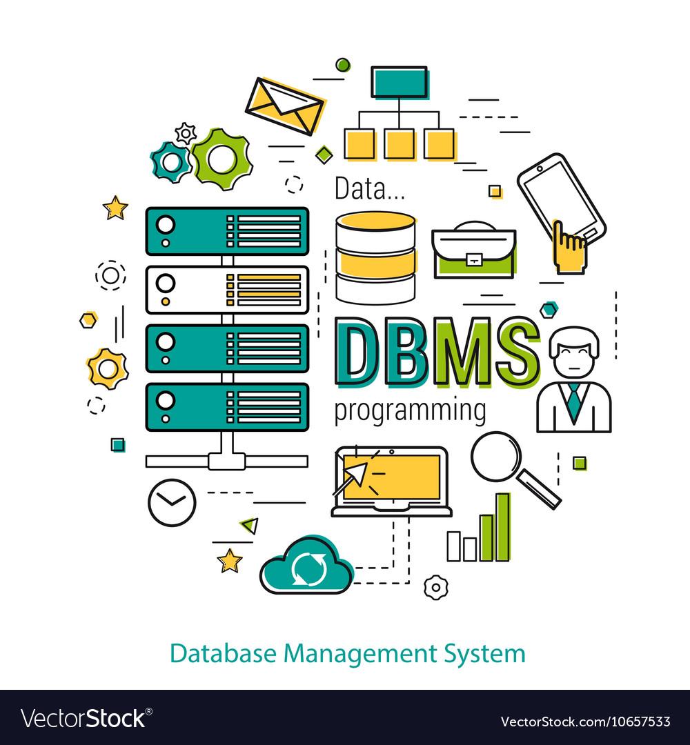 DBMS - line art concept Royalt...