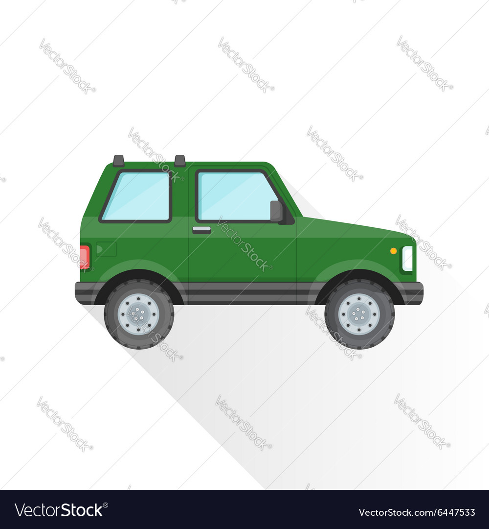 Flat green off-road suv car body style icon