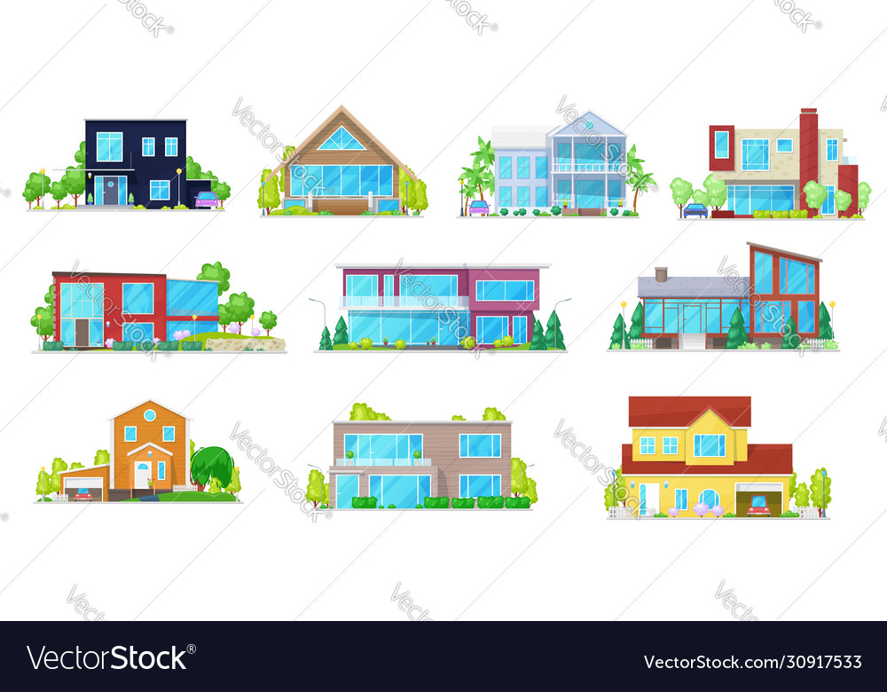 Flat icons home house villa mansion and cottage