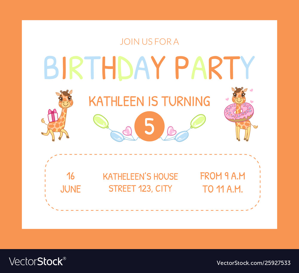 Happy Birthday Invitation Card Template With Cute