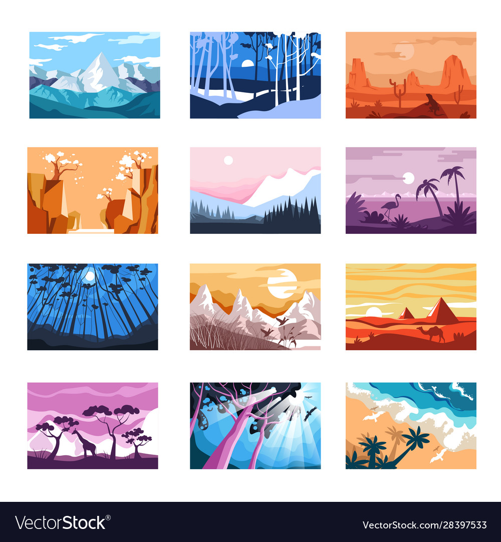 Nature landscapes isolated icons mountains and