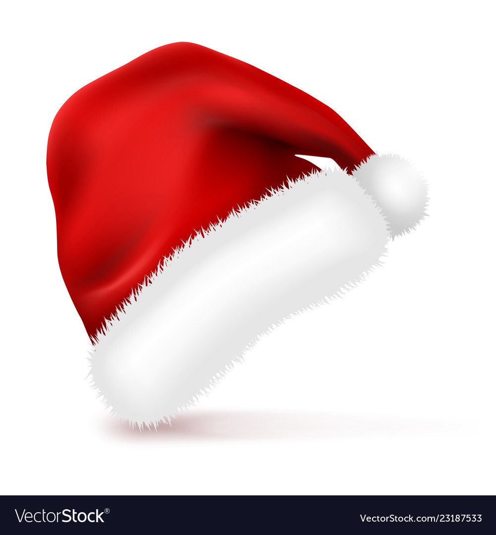 Santa claus hat with fur isolated on white Vector Image 15dea01da347