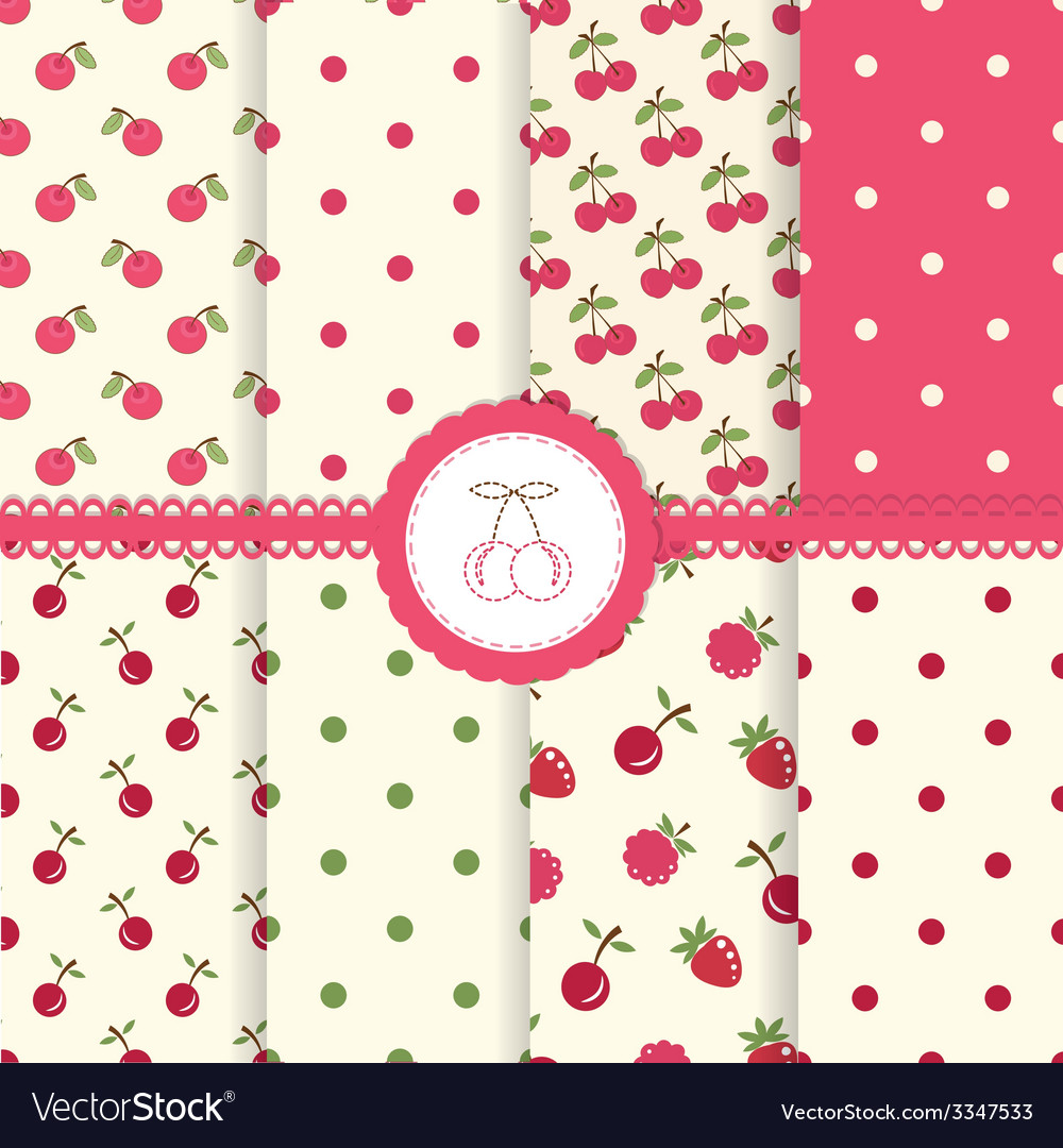 Set cherry seamless patterns