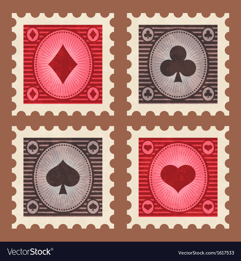 Set of Poker Stamps vector image