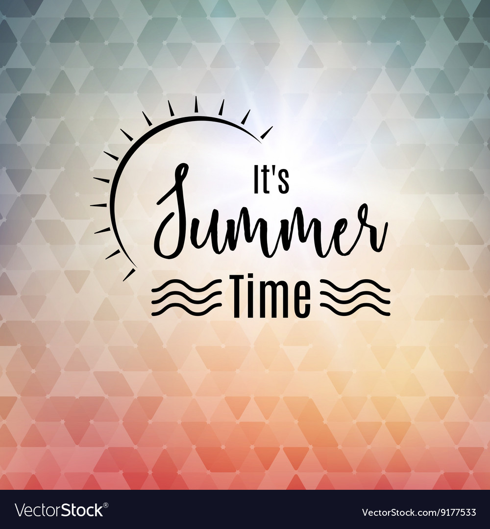 Summer time polygonal background with sun travel