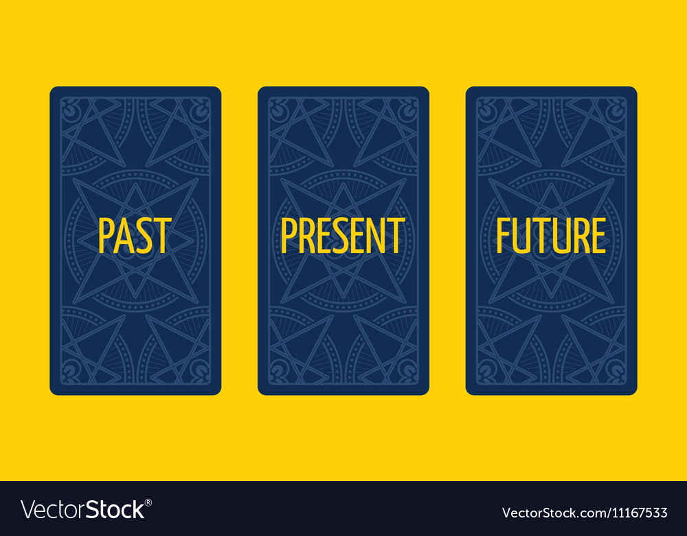 Three card tarot spread Past present and future vector image