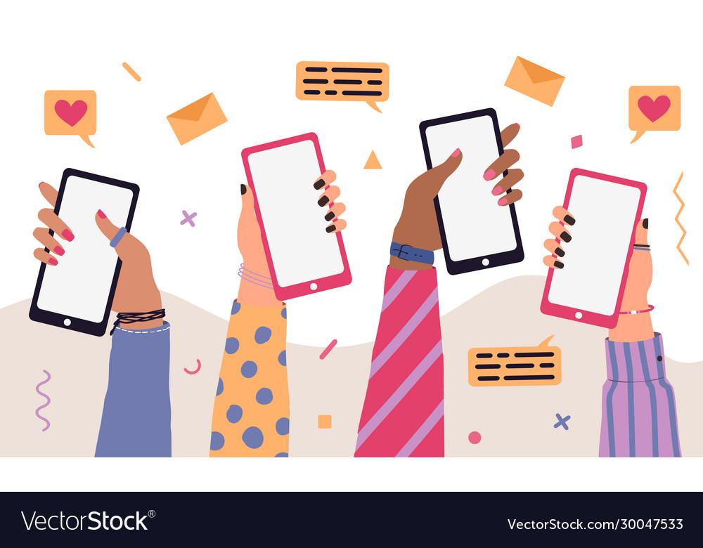 Trendy cartoon people hands using smartphones