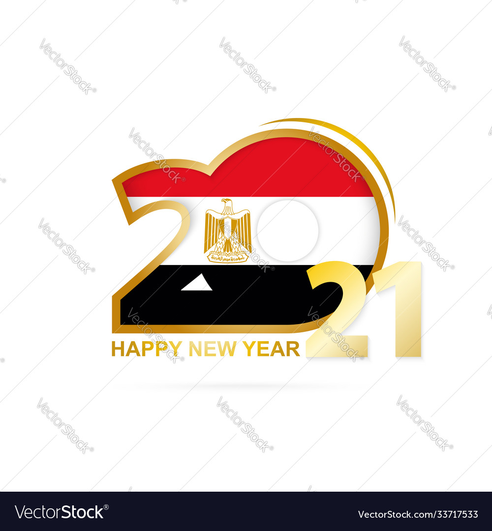Year 2021 With Egypt Flag Pattern Happy New Year Vector Image