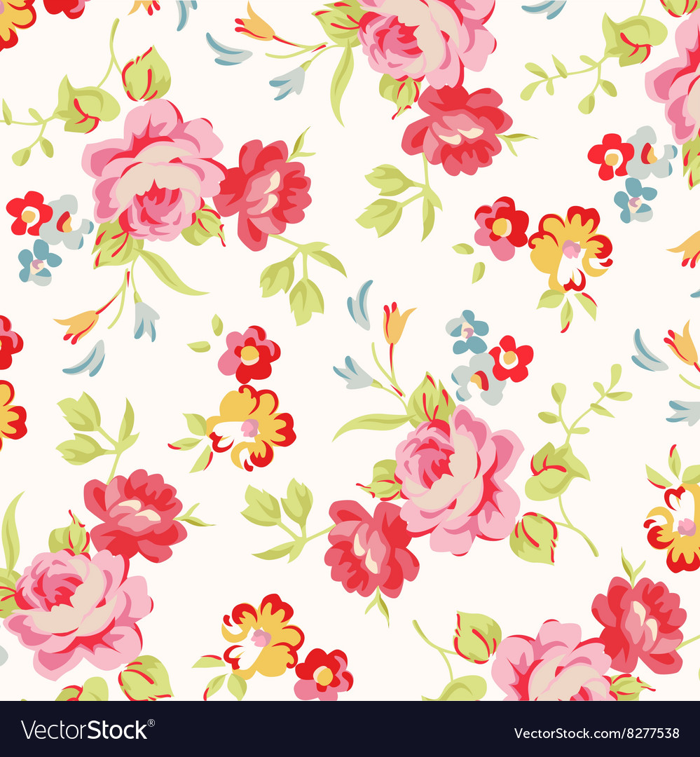 Beautiful floral seamless pattern with red roses