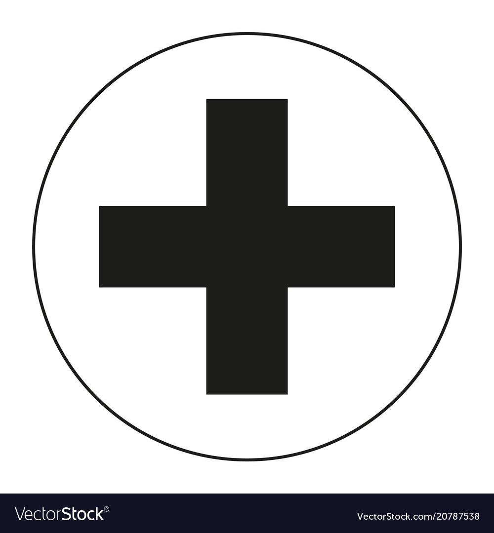 black and white medical cross symbol silhouette vector image  vectorstock