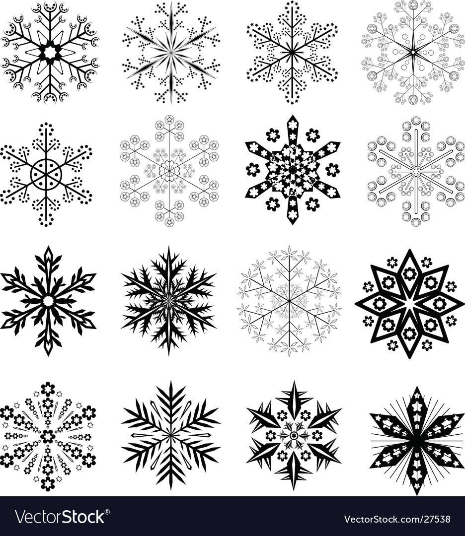 Black and white snowflakes set