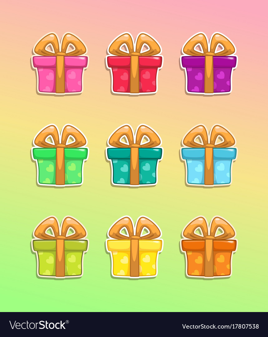 Cartoon colorful gift box icons