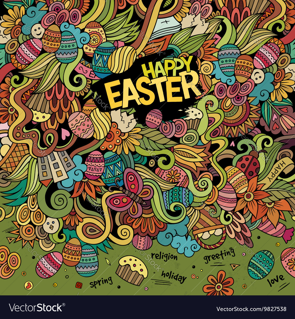 Cartoon hand-drawn doodles Happy Easter background