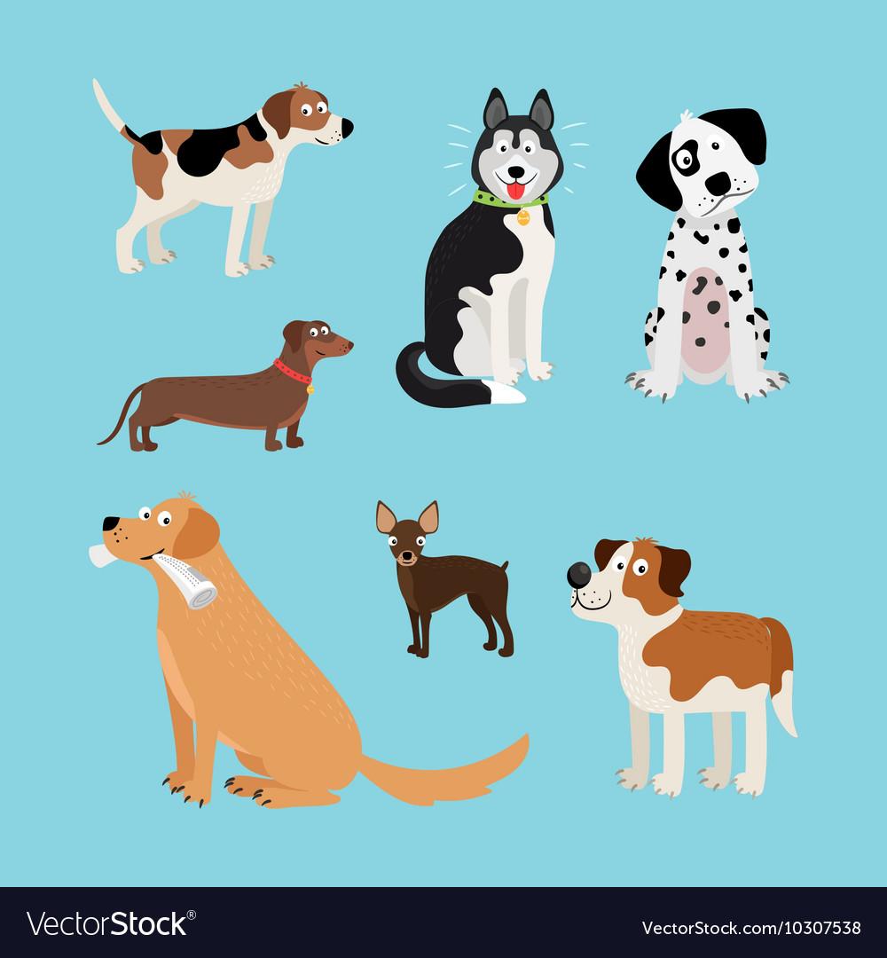 Cartoon happy dogs set vector image