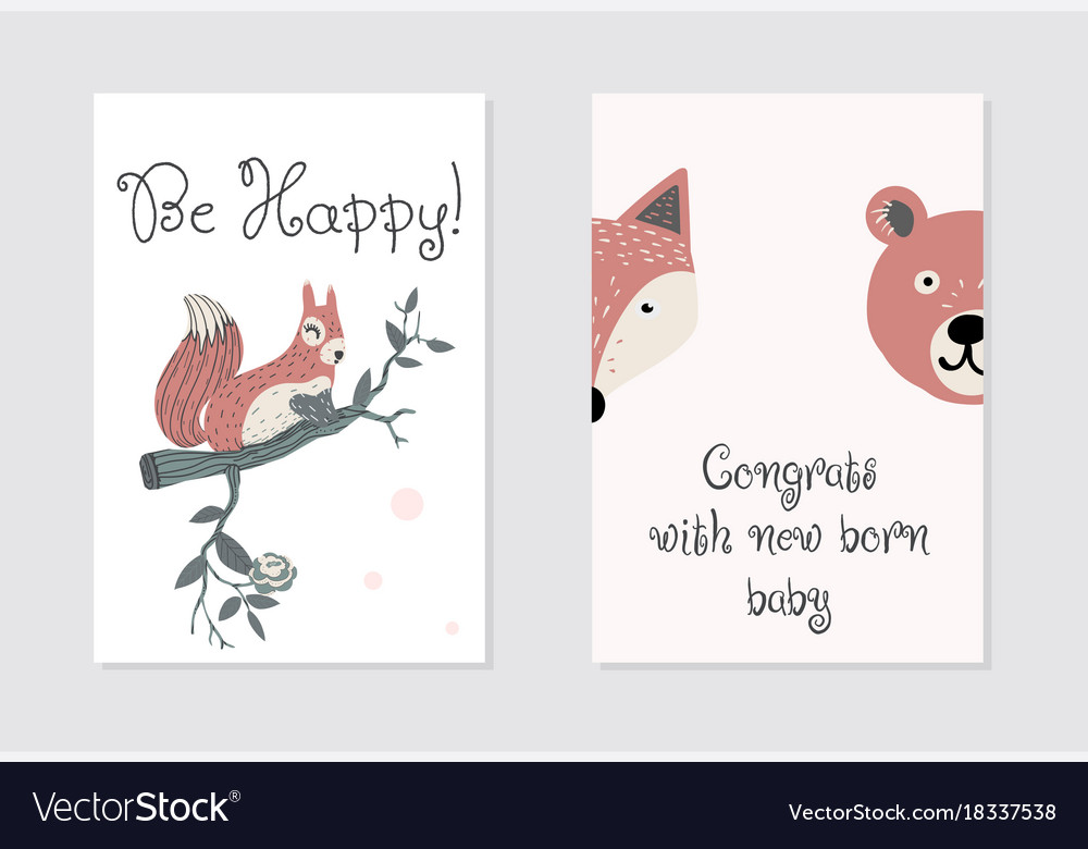 congrats with new born baby card design be happy vector image - New Born Baby Card