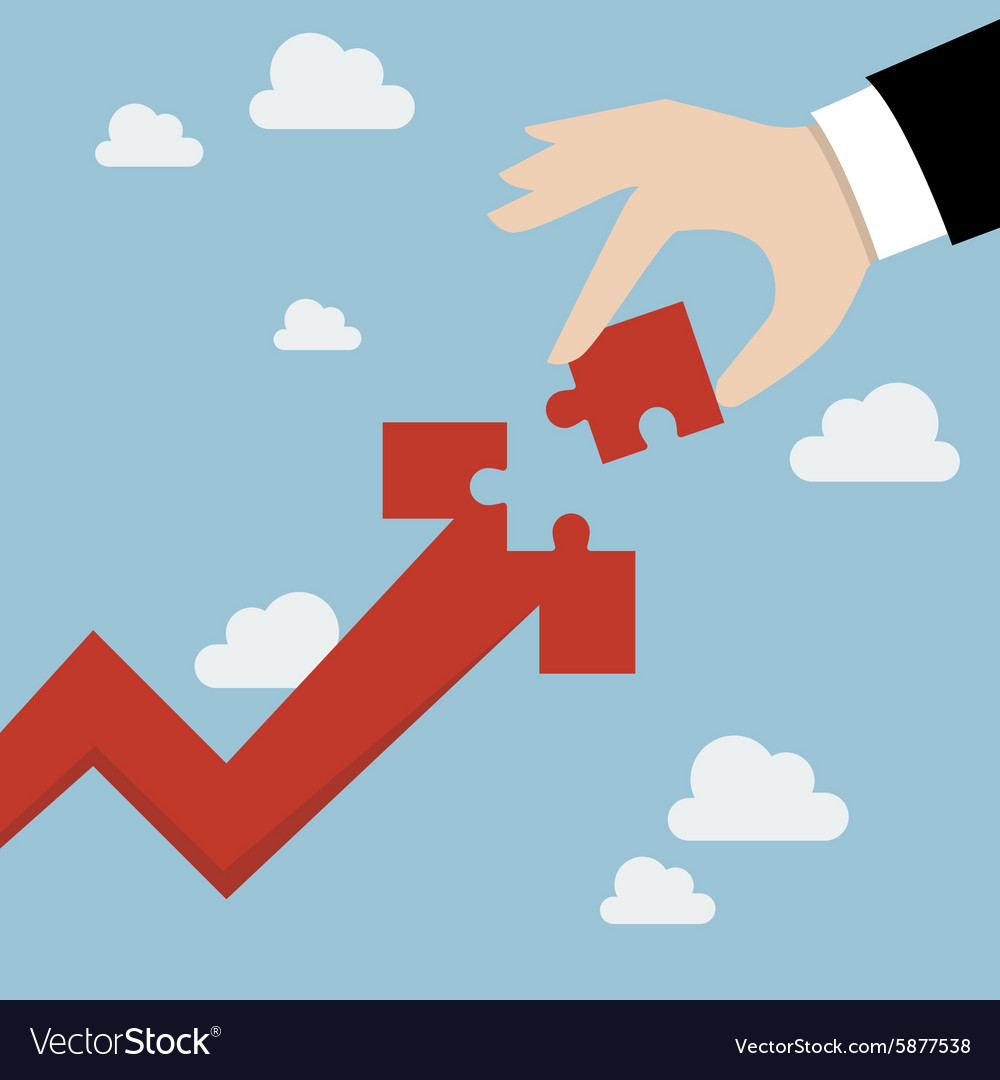 Hand inserts missing puzzle in arrow graph up Vector Image