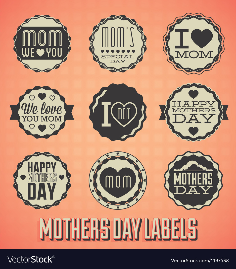 Happy Mothers Day Labels and Icons