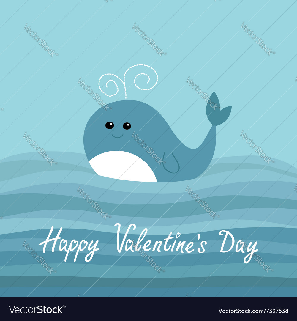 Happy Valentines Day Love card Cartoon whale in