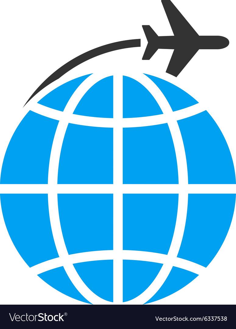 International Flight Flat Icon vector image