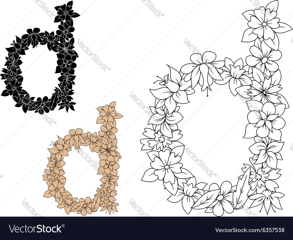 Lowercase letter D with dainty flowers
