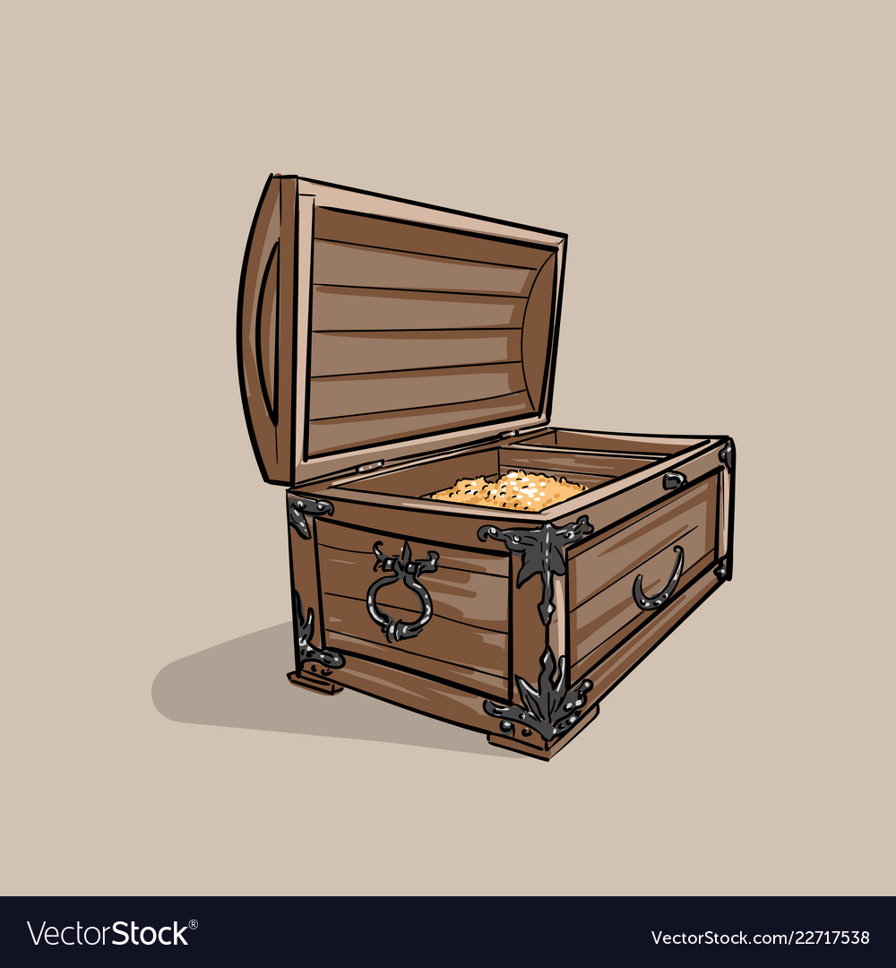 Old Treasure Chest Pirate Wooden Vector Image