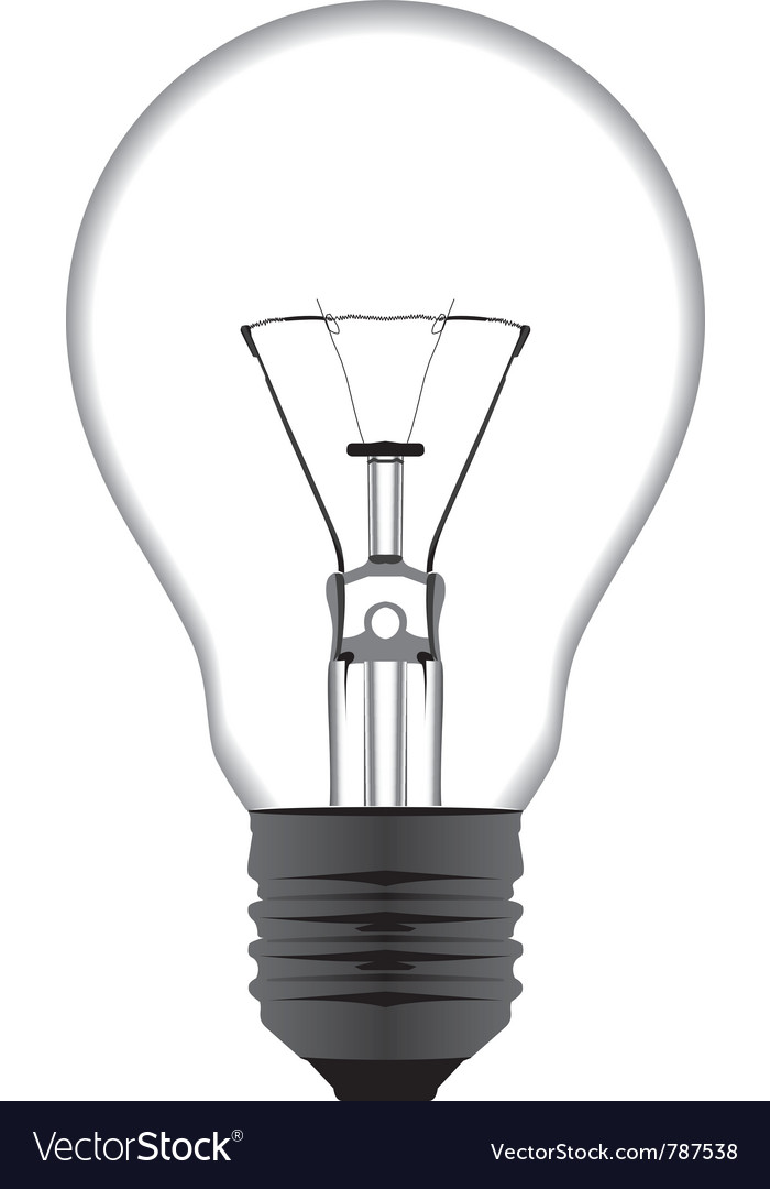 Realistic Of A Light Bulb Isolated On White Vector Image On Vectorstock