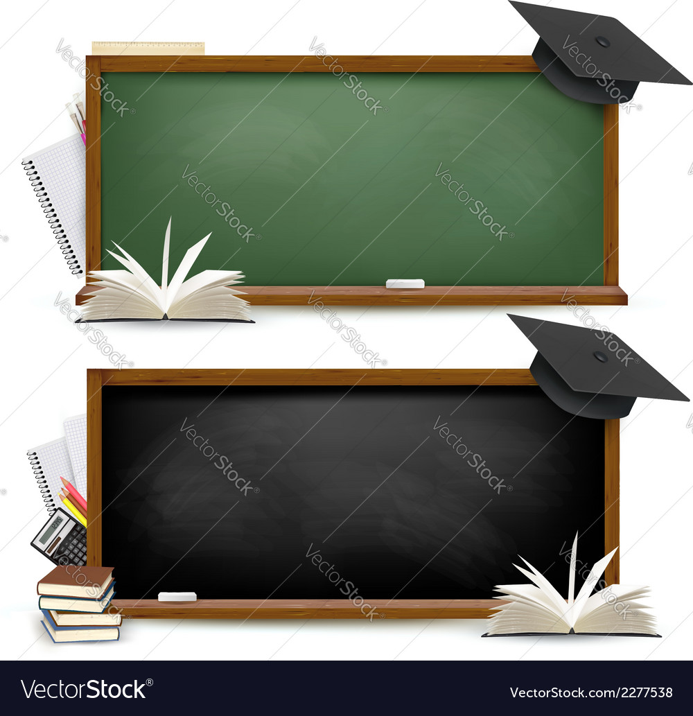 Two banners of chalkboards with school supplies