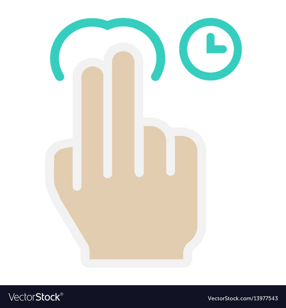 2 finger press and hold flat icon touch gesture
