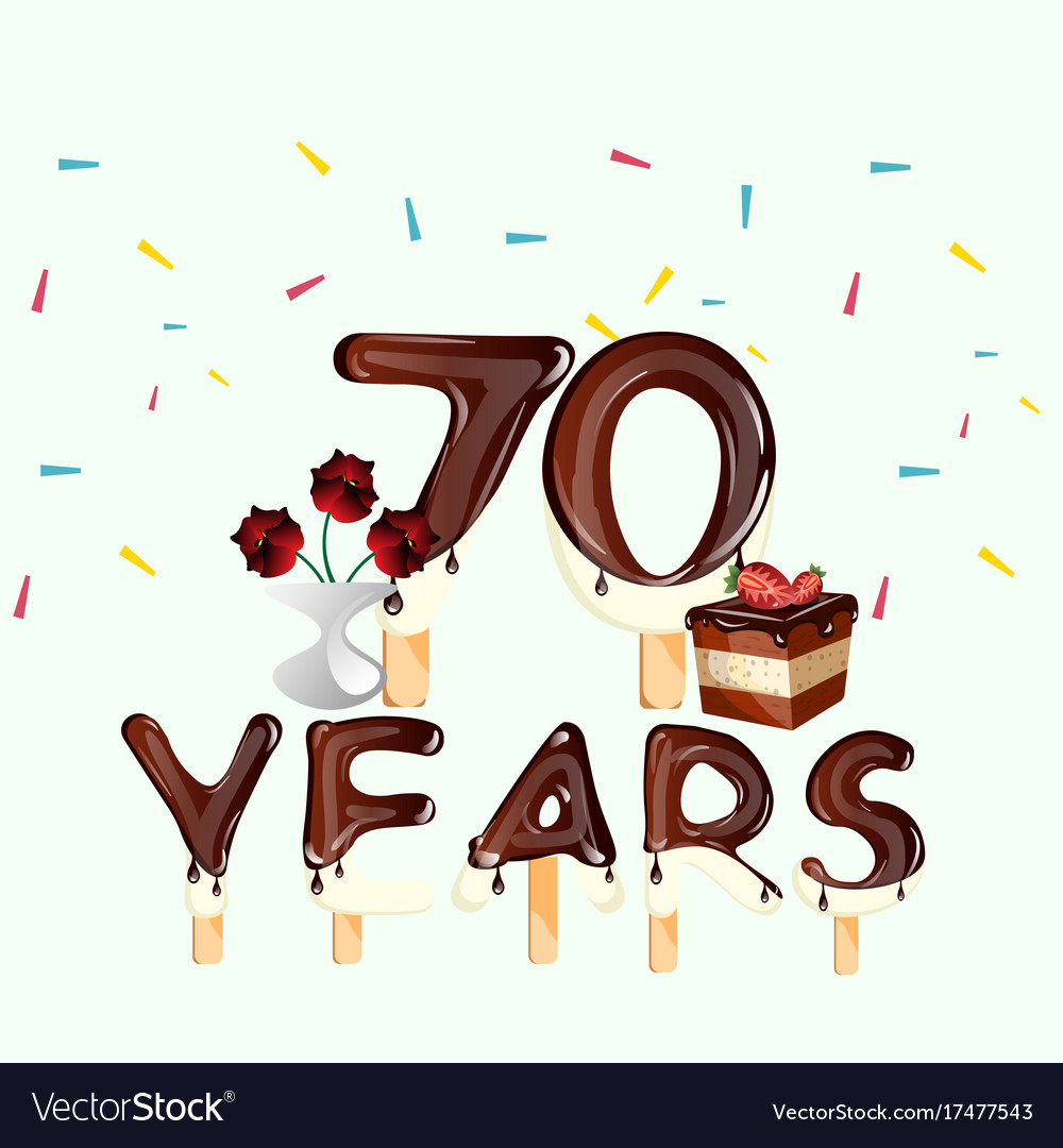 70 Years Happy Birthday Card Vector Image