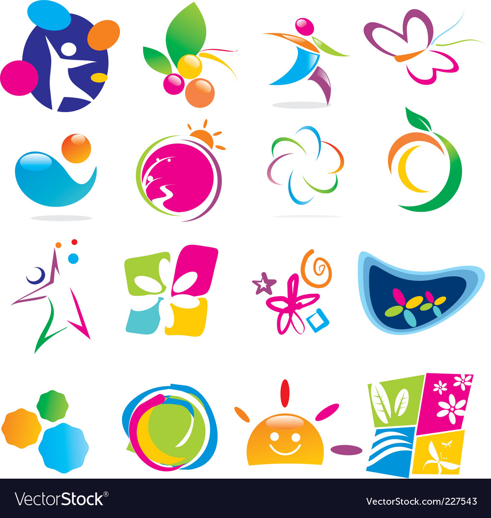 Color of life icons vector image