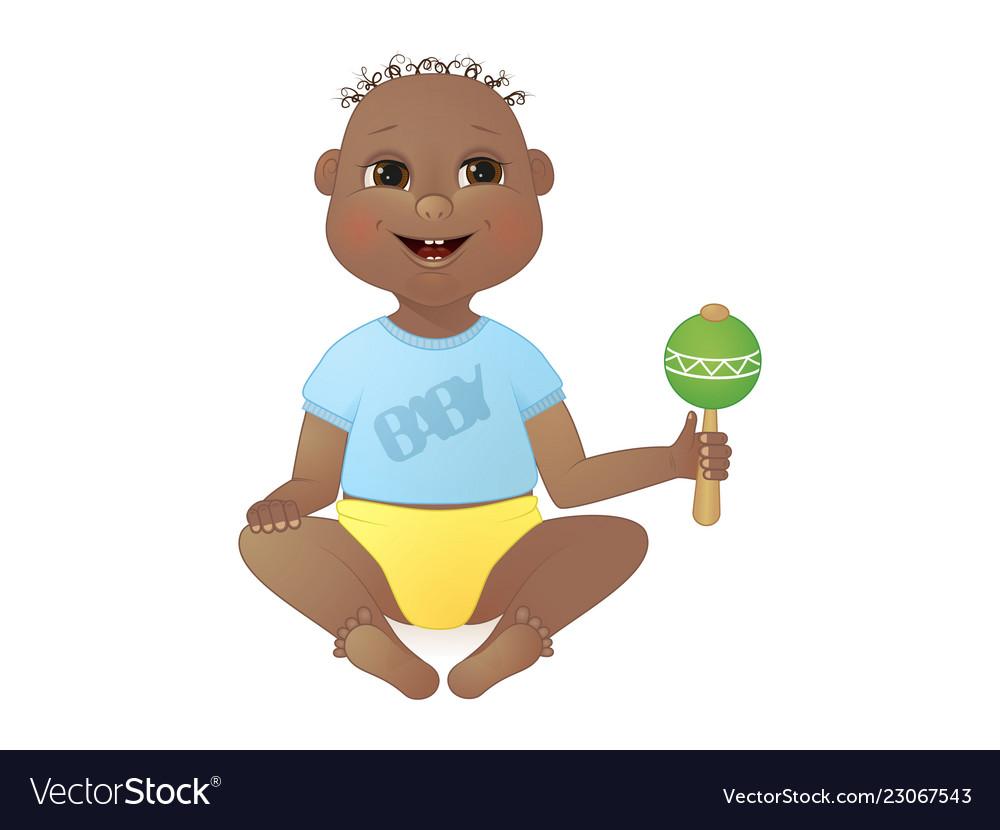 Cute smiling baby boy african american boy sitting