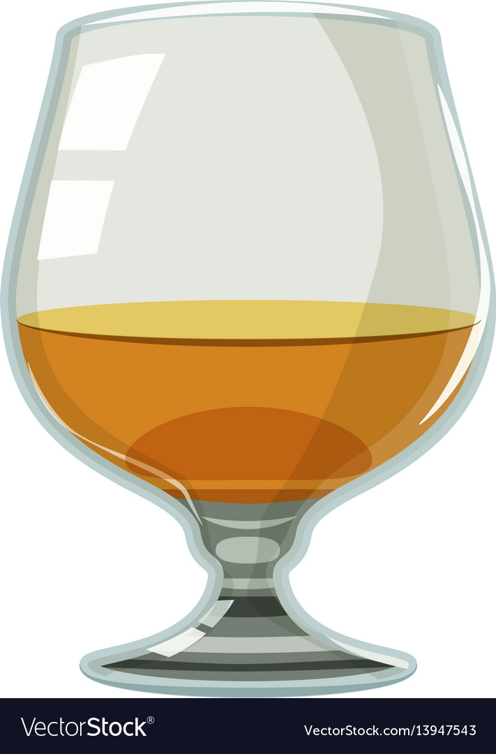 Glass of scotch or whiskey icon cartoon style