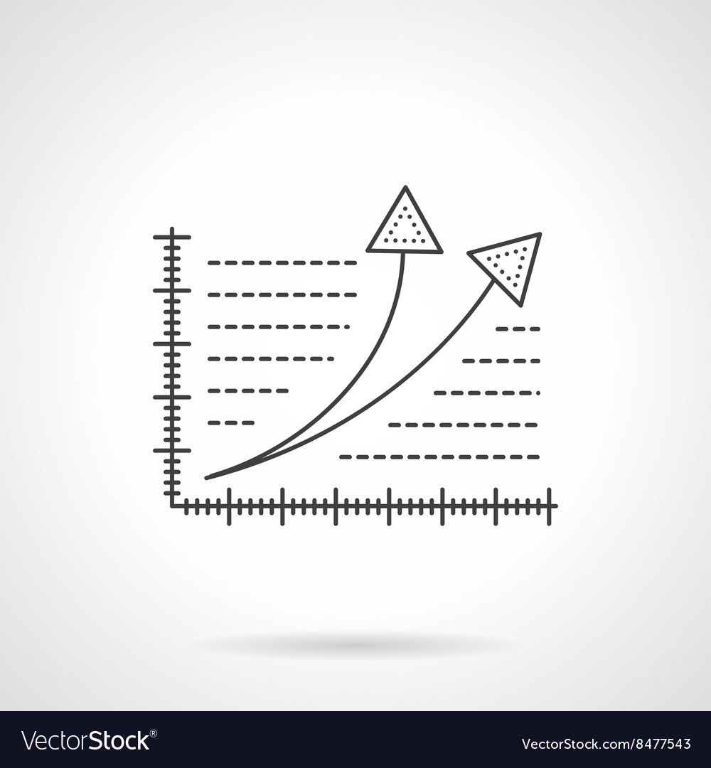 Growth statistics flat line icon