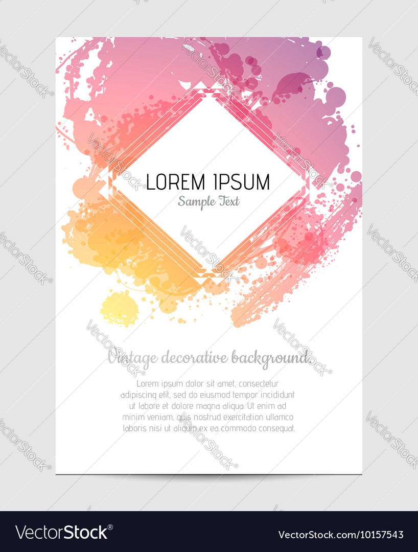 Invitation with hand drawn brush stain vector image