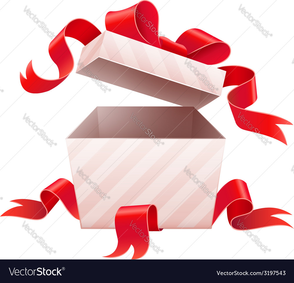 Open box with ribbon for